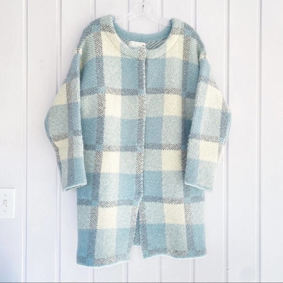 Lulu's Wool Plaid Car Coat Sweater Jacket